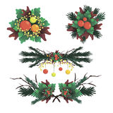 Set of Christmas vector items decoration  Stock Images
