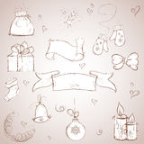 Set of Christmas items. sketch stock images