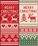 A set of Christmas knitted pattern with deer Stock Photo