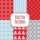 Set of christmas knitted seamless patterns, scandinavian design,  Royalty Free Stock Photos