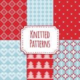 Set of christmas knitted seamless patterns, scandinavian design,  Royalty Free Stock Photos