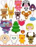 Set of christmas Knitted Toys. Stock Photography