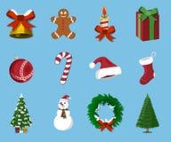 Set of  Christmas 12 label, XMas icon. Cartoon style. Vector Ill Stock Photography