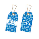 Set of Christmas labels with background from snowflakes Stock Photography