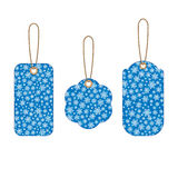 Set of Christmas labels with background from snowflakes. Set of Christmas labels with blue background from snowflakes. Element for your Christmas designs stock illustration