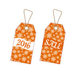 Set of Christmas labels with background from snowflakes. Set of Christmas labels tags with orange background from snowflakes. Element for your Christmas designs Vector Illustration