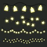 Set of christmas lamps garlands. Warm light. Glowing christmas lights isolated on dark background. Festive decoration. Vector round, tree and bulbs Stock Photography