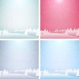 Set of Christmas landscape backgrounds. Royalty Free Stock Images