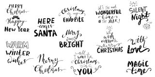Set of Christmas lettering handwritten Royalty Free Stock Photos
