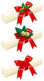 Set of christmas letters. Vector illustration of  roll papers with red ribbons, holly, fir brunches and cones Royalty Free Stock Images