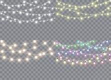 Set of christmas lights isolated realistic design elements. stock illustration