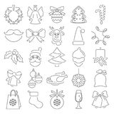 Set of Christmas line icons for web and mobile design. Set of Christmas line icons for web and mobile Royalty Free Stock Images
