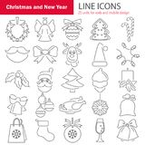 Set of Christmas line icons for web and mobile design. Set of Christmas line icons for web and mobile Royalty Free Stock Photography