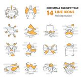 Set of Christmas line icons for web and mobile design. Set of Christmas line icons for web and mobile Stock Photos