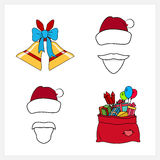 Set of Christmas Line Style Icons. Set of Colorful Christmas Line Style Icons, Holiday Jingle Bells Decorated with a Blue Bow, Santa Claus with a Beard, Mustache Royalty Free Stock Photography