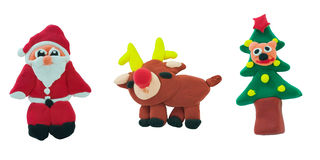 Set of christmas made from plasticine Stock Photo