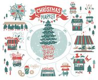 Christmas market poster. Set the Christmas market at the amusement Park. Lettering the inscription Happy New year. The shops with Christmas gifts and food, rides Stock Photos