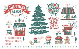 Christmas market illustration. Set the Christmas market at the amusement Park. Lettering the inscription Happy New year. The shops with Christmas gifts and food Stock Images