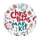 Set the Christmas market. With Christmas objects and symbols of the holiday: gifts, masks, socks, Christmas decorations man cookies, garland, sweets. The Royalty Free Stock Photo