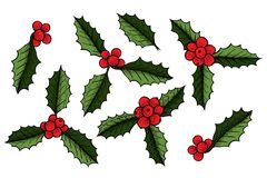 Set of Christmas mistletoe. Holly berry with leaves. Hand drawn vector illustration. Botanical Xmas decor element. Great for logo, icon, label, holiday Royalty Free Stock Image