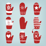 Set of Christmas Mittens Royalty Free Stock Images