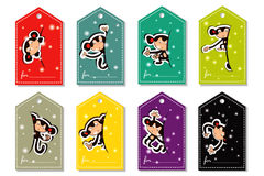 A set of Christmas monkey color labels. Bright colorful labels for gifts with the image of monkeys Stock Images