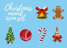 Set of Christmas Mood. 12 label, XMas icon. Cartoon style. Vecto Stock Photos