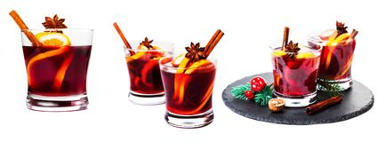 Set of Christmas mulled wine isolated on white background. Red H royalty free stock images