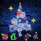 Set christmas neon sign. Neon sign, bright signboard, light banner. Vector icons. Merry Christmas and Happy New Year 2018 collection of neon signs Royalty Free Stock Images