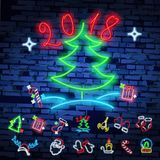 Set christmas neon sign. Neon sign, bright signboard, light banner. Vector icons. Merry Christmas and Happy New Year 2018 collection of neon signs Royalty Free Stock Image