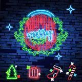 Set christmas neon sign. Neon sign, bright signboard, light banner. Vector icons. Merry Christmas and Happy New Year 2018 collection of neon signs Stock Photography