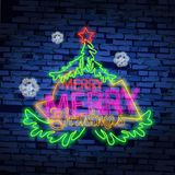 Set christmas neon sign. Neon sign, bright signboard, light banner. Vector icons. Merry Christmas and Happy New Year 2018 collection of neon signs Royalty Free Stock Photography