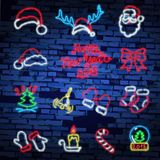 Set christmas neon sign. Neon sign, bright signboard, light banner. Vector icons. Merry Christmas and Happy New Year 2018 collection of neon signs Stock Photos