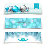 Set of Christmas and New Year banners with balls, fir branches and bokeh background Stock Photography