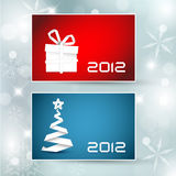 Set of  christmas / New Year banners (cards). 2012 - blue and red version Royalty Free Stock Images
