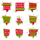 Set of Christmas and New Year banners. Collection of red and green festive labels  on the white background. Vector illustration. Web Xmas tags Stock Image