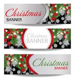 Set Christmas and New Year banners with fir branches and holly berries. Illustration with place for your text. Royalty Free Stock Images