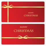 Set of Christmas and New Year banners. With gold ribbons royalty free illustration