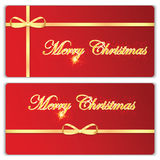 Set of Christmas and New Year banners. With gold ribbons vector illustration