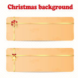Set of Christmas and New Year banners. With gold ribbons stock illustration