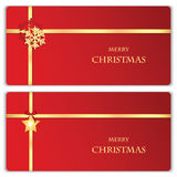 Set of Christmas and New Year banners. With gold ribbons and Christmas decorations vector illustration