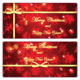Set of Christmas and New Year banners with gold ribbons Stock Photography