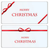 Set of Christmas and New Year banners. With red ribbons stock illustration