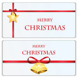 Set of Christmas and New Year banners. With red ribbons and Christmas decorations stock illustration