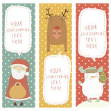 A set of Christmas and New Year banners. Santa Cla. A set of Christmas and New Year banners. Share the Christmas cartoon characters. Santa Claus, Snowman vector illustration