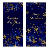 Set of  christmas . New Year banners 2017. Set of  christmas and New Year vertical banners 2018. Silver and golden snowflakes on dark blue background Stock Photo