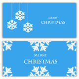 Set of Christmas and New Year banners. With snowflakes royalty free illustration