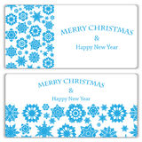 Set of Christmas and New Year banners. With snowflakes stock illustration