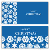 Set of Christmas and New Year banners. With snowflakes vector illustration