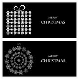 Set of Christmas and New Year banners. With snowflakes and a box for gifts vector illustration